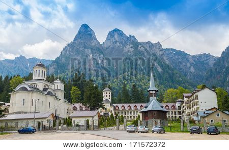 The famous Caraiman monastery near Bucegi mountain in Predeal, Romania
