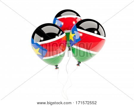 Three Balloons With Flag Of South Sudan