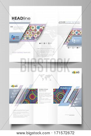 Tri-fold brochure business templates on both sides. Easy editable abstract vector layout in flat design. Bright color background in minimalist style made from colorful circles