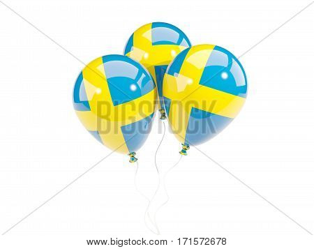 Three Balloons With Flag Of Sweden