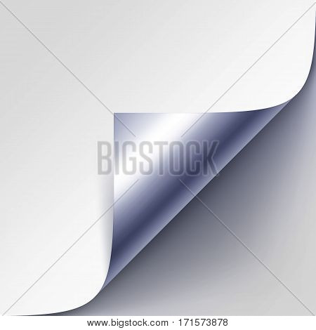 Vector Curled Silver Metalic Corner of White Paper with Shadow Mock up Close up Isolated on Gray Background