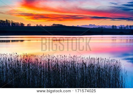 Beautiful Sunset Over Spring Lake Landscape