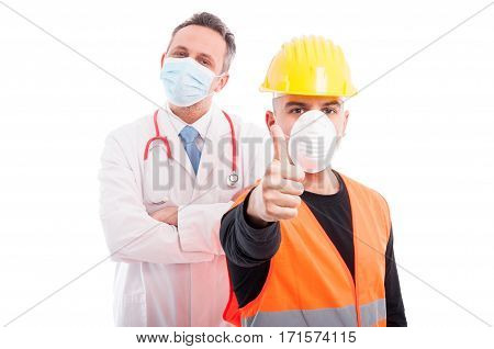 Trustworthy Constructor And Doctor Showing Thumb Up