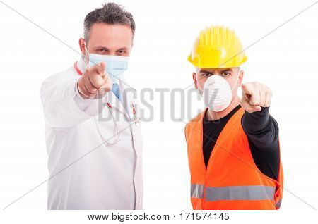 Doctor And Constructor Pointing Mad At Camera