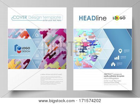 Business templates for brochure, magazine, flyer, booklet or annual report. Cover design template, easy editable vector, abstract flat layout in A4 size. Bright color lines and dots, colorful minimalist backdrop with geometric shapes forming beautiful min