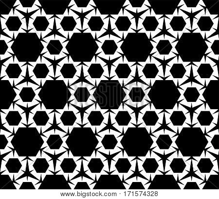 Vector monochrome seamless pattern. Black and white repeat ornamental texture. Simple geometric figures, hexagons & triangles. Modern stylish abstract background. Design for prints, decoration, textile, fabric, cloth, furniture, digital, web