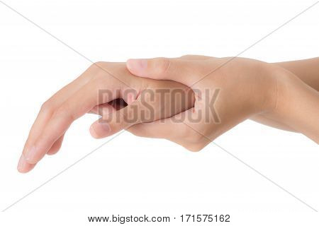 woman holding her beautiful healthy wrist and massaging in pain area Isolated on white background.