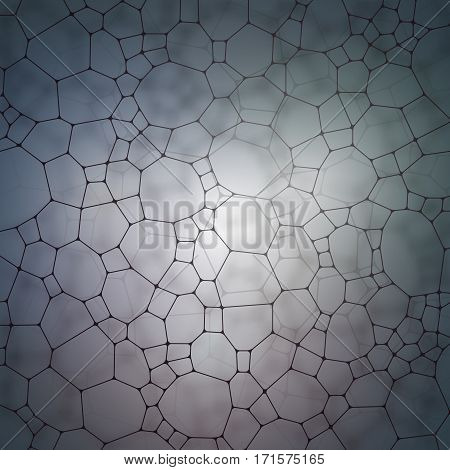 Chemistry pattern, polygonal molecule structure on gray background. Medicine, science, microbiology concept, vector illustration