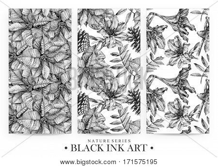 Set of seamless patterns with dotted flowers and plants drawn by hand with black ink. Graphic drawing pointillism technique. Floral background in dotwork style. Black and white