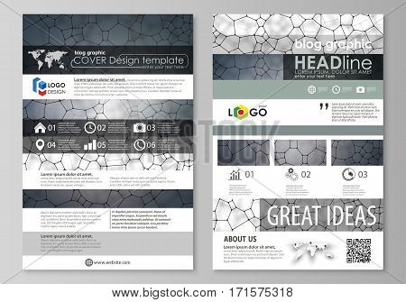 Blog graphic business templates. Page website design template, easy editable abstract vector layout. Chemistry pattern, molecular texture, polygonal molecule structure, cell. Medicine, science, microbiology concept.
