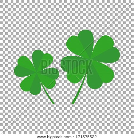 Four leaf clover icon. Two vector leaf