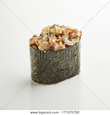 Japanese Sushi - Unagi Gunkan Sushi (Nori wrapped Smoked Eel Sushi) on White Background