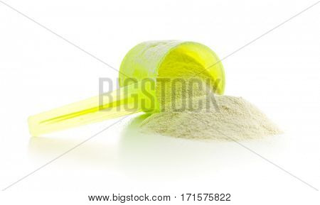 Whey protein powder isolated on white background.