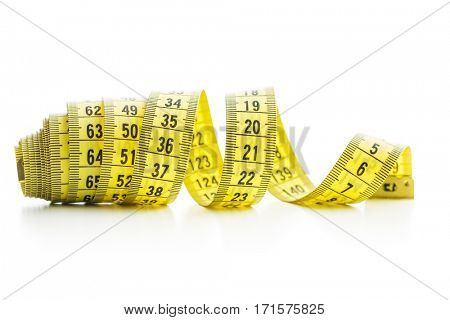 The yellow measuring tape isolated on white background.