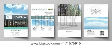 Business templates for brochure, magazine, flyer, booklet or annual report. Cover design template, easy editable vector, abstract flat layout in A4 size. Colorful background made of triangular or hexagonal texture for travel business, natural landscape in