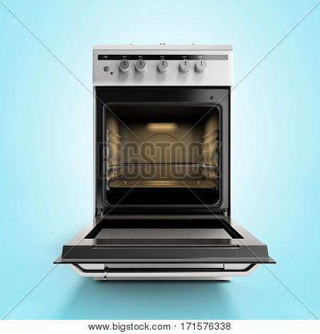 Open Gas Stove 3D Render Isolated On A Blue Background