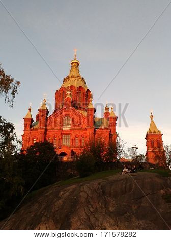 Uspenski cathedral, red dominant in Helsinki city centre