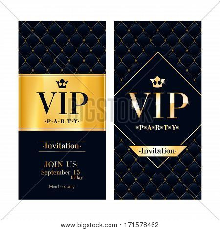 VIP party premium invitation card poster flyer. Black and golden design template. Quilted pattern decorative background with gold ribbon.