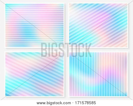 Holographic Backgrounds Set Pastel Smooth Blur Wallpapers Lines