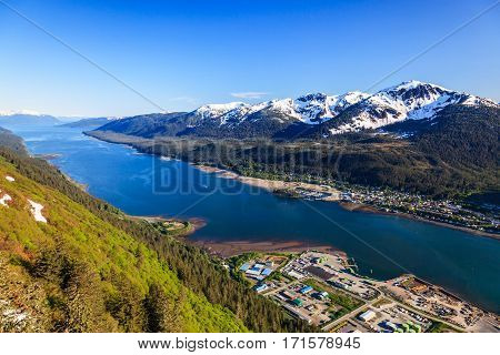 Juneau Alaska. Aerial view of the Gastineau channel and Douglas Island.