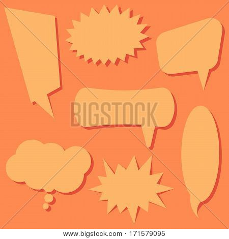 Set of speech bubbles on a orange background. Speech bubbles without phrases. Vector illustration.
