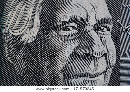 Portrait Of David Unaipon Closeup - Australian 50 Dollar Bill Fragment.