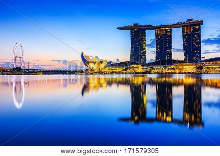 Singapore City Singapore - January 9 2016 Marina Bay Sands at sunrise.