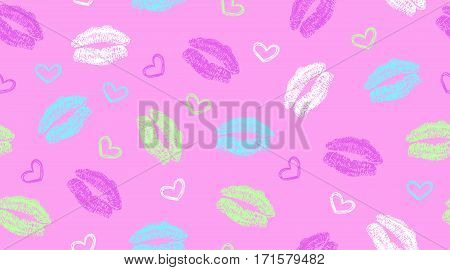 seamless pattern with kisses and hearts on bright pink background