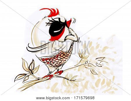 Fat bird white red touchy stands on tree branch Cartoon cute character design hand paint brush.