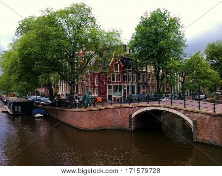 Typical colorful housees in Amsterdam city centre