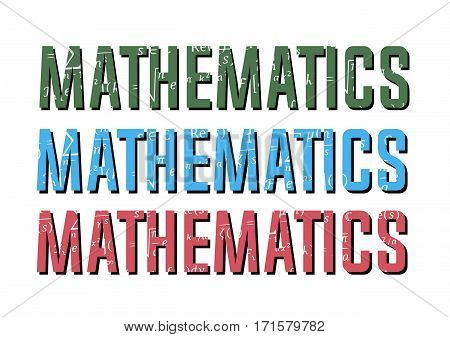 Math physics formulas in the mathematics sign of blue red and green color