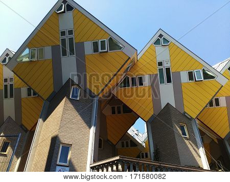 Cube houses, modern architecture in Rotterdam, Nederlands