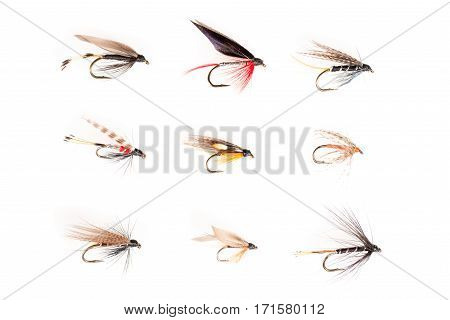 Fishhooks Or Trout Flies In 3X3 Grid Cutout
