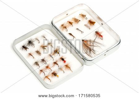 Collection Of Trout Flies Or Fishing Lures In Aluminum Case