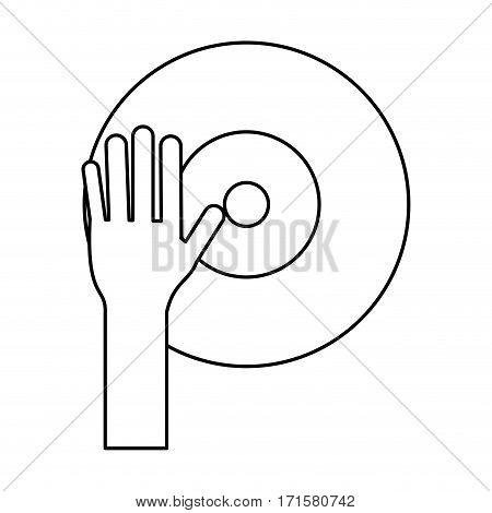 hand dj playing vinyl thin line vector illustration eps 10