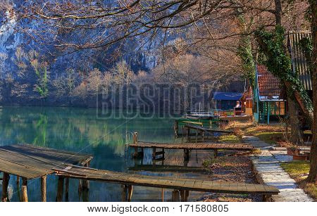 Landscape of a weekend settlement on river West Morava river in Serbia.