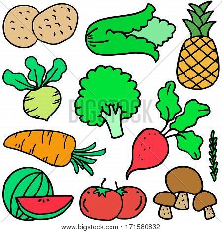 Collection stock of vegetable object doodles vector art