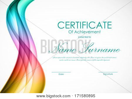 Certificate of achievement template with dynamic interweaving colorful soft wavy background. Vector illustration