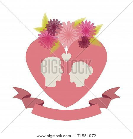 roses and flowers couple heart icon stock, vector illustration