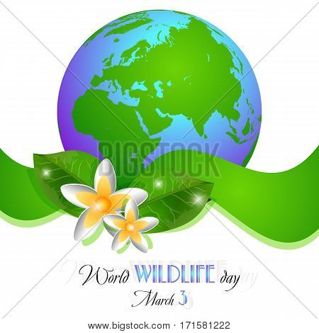 Earth globe with narcissuses and green ribbon on white. World wild life day in March 3. Also suitable for Earth day and Hour. Vector illustration