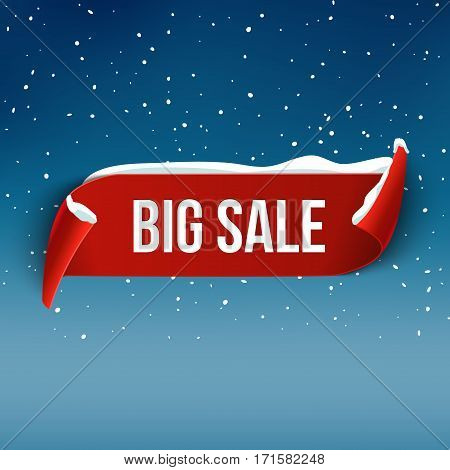 Winter Bug sale background with red realistic ribbon. Winter poster or banner promotional design with snow. Vector discount marketing element.