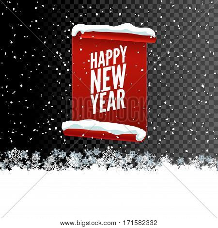 Happy New Year greeting card. Red curved paper banner on transparent background with snow and snowflakes. Vector illustration.
