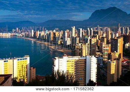 View from mountain at the city of Benidorm Costa Blanca Spain taken in the early morning