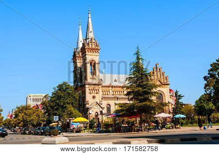 Batumi Georgia. The Church of the Mother of God in Batumi Georgia. Beautiful decoration with gothic revival design. Blue sky during the sunny day