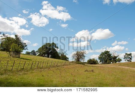 Craggy old fence in the meadows of Wiltshire in England.