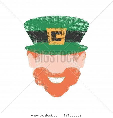 drawing st patricks day face leprechaun traditional vector illustration eps 10