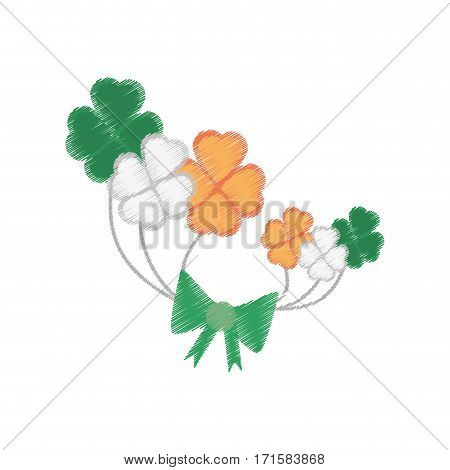 drawing bunch clover st patricks day vector illustration eps 10