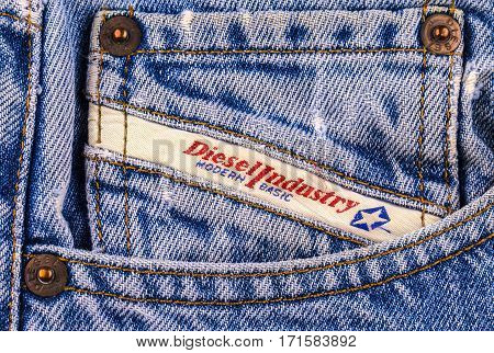 Chisinau Moldova February 10 2017: Back pocket jeans Diesel. Diesel - Italian design company and brand clothing and accessories