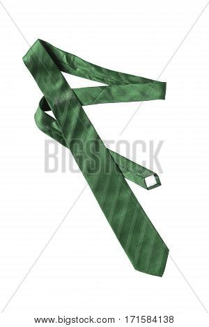 Elegant green silk necktie on white background