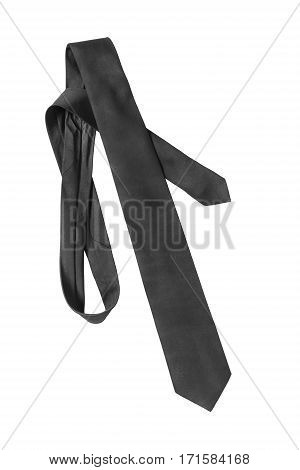 Elegant black silk necktie on white background